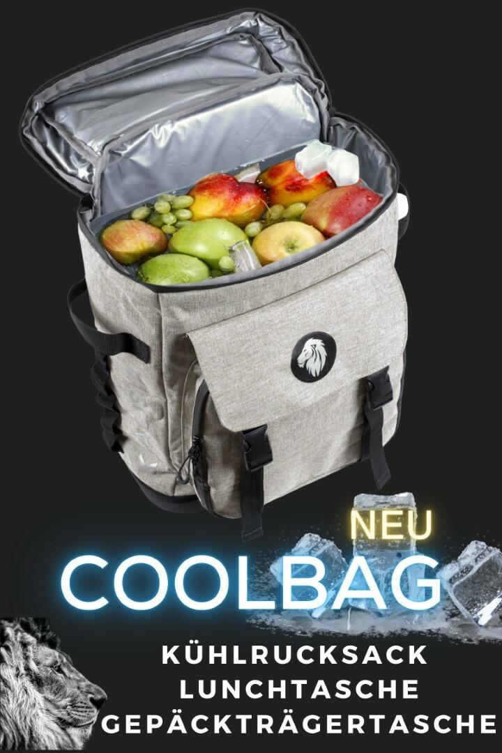 KHALISIA CoolBag, die Erste Kühltasche für Fahrrad Gepäckträger, Rucksack, Ideal für Picknick, Strand Urlaub  als Luch Box